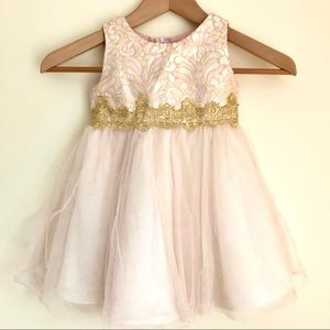 Rare Editions Blush/Gold Party Dress